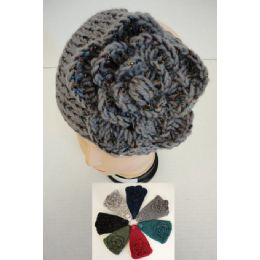 48 Units of Wider Hand Knitted Ear Band W/ Flower [metallic Accent] - Ear Warmers