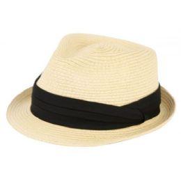 24 Units of Straw Braid Fedora Hats - Fedoras, Driver Caps & Visor
