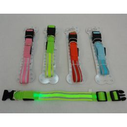 36 Units of Nylon Reflective LighT-Up Buckled Collar [assorted Sizes] - Pet Accessories