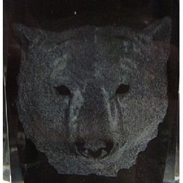 12 Units of 3d Laser Etched CrystaL-Bear Head - Etched Crystal Figurines