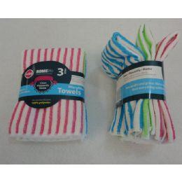 48 Units of 3 Piece Microfiber Towel Set [striped] - Kitchen Towels