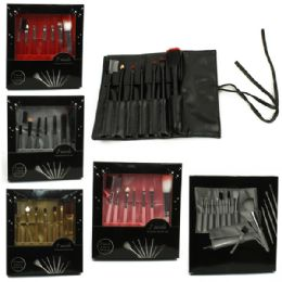 120 Units of 7 Piece Brush Set In A Retail Box That Rolls Up And Ties Shut - Assorted Colors - Brushes