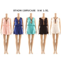 60 Units of Womens Fashion Summer Romper With Tied Neck And Gathered Waist Assorted Color And Size - Womens Rompers & Outfit Sets
