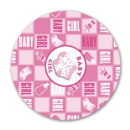 """96 Units of 9""""/8 Count Paper Plate Girl - Baby Shower"""