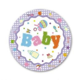 """96 Units of 7""""/8 Count Paper Plate Shower - Baby Shower"""