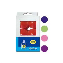 48 Bulk Six Count Votive Candle Assorted Colors