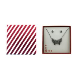 36 Units of Silver Tone Butterfly Necklace And Earring Gift Box - Jewelry Box