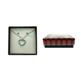 36 Units of Birth Stone Necklace And Earring Gift Box March - Jewelry Box