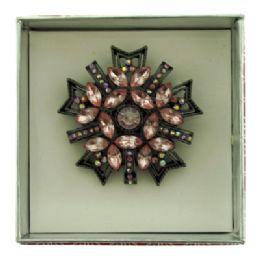 36 Units of Snowflake Shaped Pin With Gift Box - Jewelry Box
