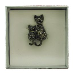 36 Bulk Side By Side Cats Pin With Gift Box