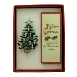 36 Bulk Christmas Tree Pin With A Book Of The Legend Of The Christmas Tree With A Gift Box