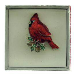 36 Bulk Cardinal Sitting On A Mistletoe Pin With Gift Box