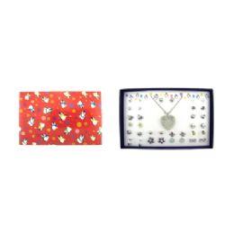 36 Bulk Heart Necklace Earring Set Gift Box