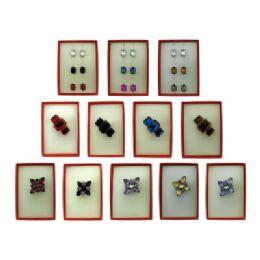 36 Bulk Pin And Dangle Multi Earring Red Gift Box Sets