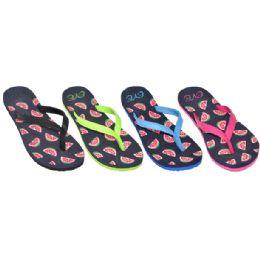36 Units of Ladies Watermelon Flip Flops - Women's Aqua Socks