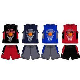 48 Units of Spring Boys Jersey Top With Close Mesh Short Sets Size Newborn - Newborn Boys Apparel