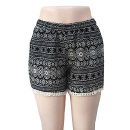 12 Units of Wholesale Black & White Tribal Print With Crochet Bottom - Woman & Junior Girls