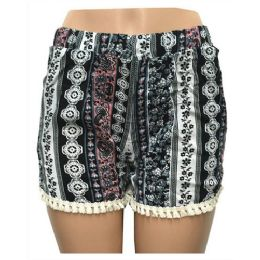 12 Units of Wholesale Assorted Vertical Band Print Shorts With Crochet Bottom - Woman & Junior Girls