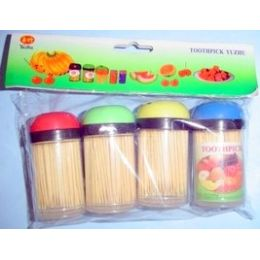 24 Units of 4 Pack Set Of Toothpicks In Clear Containers - Toothpicks