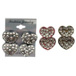 36 Units of Heart Shaped Post Earrings - Earrings