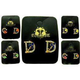 36 Units of Alphabet Post Earrings - Earrings