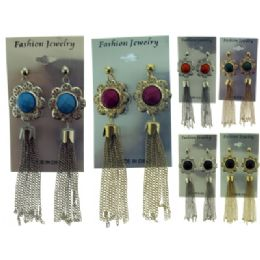 36 Units of Silver And Gold Tone Post Dangle Earrings With Assorted Color Flower Shaped Posts - Earrings
