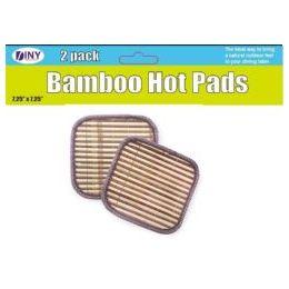 48 Units of Set Of 2 Bamboo Hot Pads Trivets - Oven Mits & Pot Holders