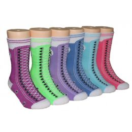 480 Bulk Girls Sneaker Print Crew Socks