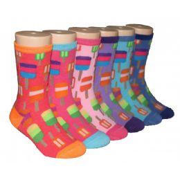 480 Bulk Girls Ice Pop Print Crew Socks