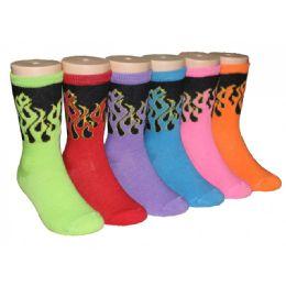 480 Bulk Girls Bright Flames Printed Crew Socks