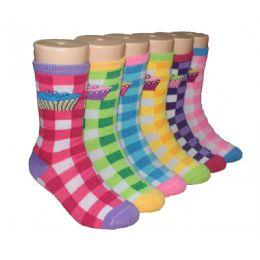 480 Bulk Girls Cupcakes Printed Plaid Crew Socks