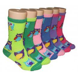 480 Bulk Girls Owl Print Crew Socks