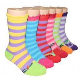 480 Bulk Girls Fruit Stripe Crew Socks