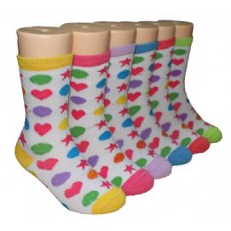 480 Bulk Girls Shapes Crew Socks