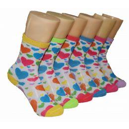 480 Bulk Girls Colorful Hearts Crew Socks