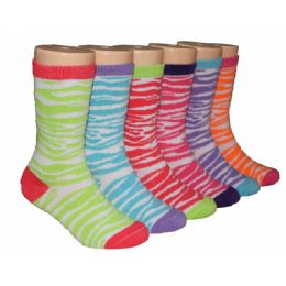 480 Bulk Girls Zebra Stripes Crew Socks