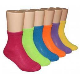 480 Bulk Girls Solid Color Crew Socks