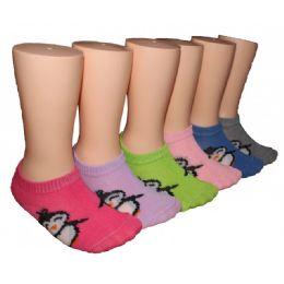 480 Bulk Girls Penguin Print Low Cut Ankle Socks