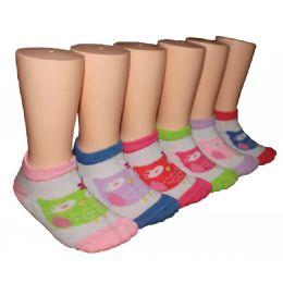 480 Bulk Girls Owl Print Low Cut Ankle Socks
