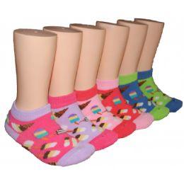 480 Bulk Girls Ice Cream Shop Low Cut Ankle Socks
