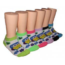 480 Bulk Girls Happy Owl Low Cut Ankle Socks