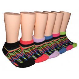 480 Bulk Girls Neon Zig Zag Low Cut Ankle Socks