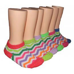 480 Bulk Girls Rainbow Chevron Low Cut Ankle Socks