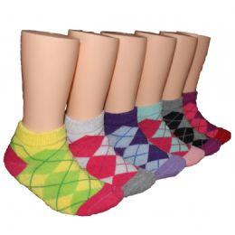 480 Bulk Girls Argyle Low Cut Ankle Socks