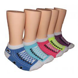 480 Bulk Girls Sneaker Print Low Cut Ankle Socks