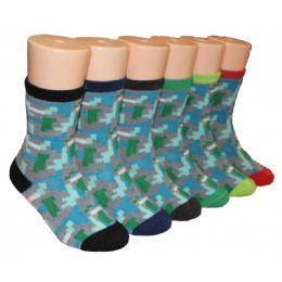 480 Units of Boys Graphics Printed Crew Socks - Boys Crew Sock