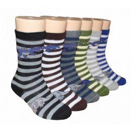 480 Units of Boys Dino Stripes Crew Socks - Boys Crew Sock