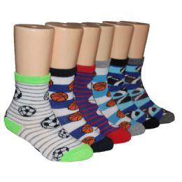 480 of Boys Assorted Sport Prints Crew Socks