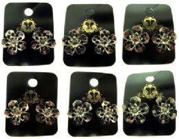 96 Units of SilveR-Tone Post Flower Shaped Earrings - Earrings