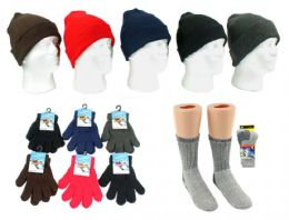 180 Units of Children's Knit Cuffed Hat, Magic Stretch Gloves, & Merino Wool Blend Socks Combo - Winter Sets Scarves , Hats & Gloves